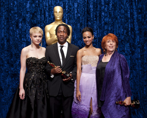 """The Academy Awards - 82nd Annual"" (Backstage)Carey Mulligan, Zoe Saldana, Roger Ross Williams, Elinor Burkett3-7-2010Photo by Darren Decker © 2010 A.M.P.A.S. - Image 23908_0350"