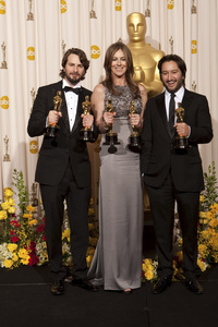 """""""The Academy Awards - 82nd Annual"""" (Press Room)Mark Boal, Kathryn Bigelow, Greg Shapiro3-7-2010Photo by Rick Salyer © 2010 A.M.P.A.S. - Image 23908_0406"""