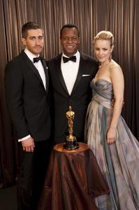 """The Academy Awards - 82nd Annual"" (Backstage)Jake Gyllenhaal, Geoffrey Fletcher, Rachel McAdams3-7-2010Photo by Todd Wawrychuk © 2010 A.M.P.A.S. - Image 23908_0431"