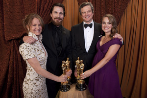 """""""The Academy Awards - 83rd Annual"""" (Backstage) Melissa Leo, Christian Bale, Colin Firth, Natalie Portman2-27-2011Photo by Tom Wawrychuk © 2011 A.M.P.A.S. - Image 24036_0215"""