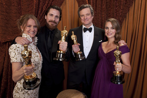 """""""The Academy Awards - 83rd Annual"""" (Backstage) Melissa Leo, Christian Bale, Colin Firth, Natalie Portman2-27-2011Photo by Tom Wawrychuk © 2011 A.M.P.A.S. - Image 24036_0216"""