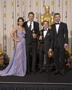 """""""The Academy Awards - 83rd Annual"""" (Press Room) Mila Kunis, Shaun Tan, Andrew Ruhemann, Justin Timberlake2-27-2011Photo by Rick Salyer © 2011 A.M.P.A.S. - Image 24036_0264"""