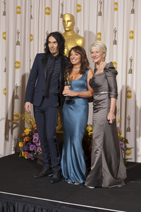 """""""The Academy Awards - 83rd Annual"""" (Press Room) Russell Brand, Susanne Bier, Helen Mirren2-27-2011Photo by Rick Salyer © 2011 A.M.P.A.S. - Image 24036_0268"""