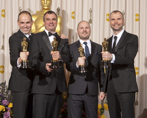 """""""The Academy Awards - 83rd Annual"""" (Press Room) Paul Franklin, Chris Corbould, Andrew Lockley, Peter Bebb2-27-2011Photo by Rick Salyer © 2011 A.M.P.A.S. - Image 24036_0279"""