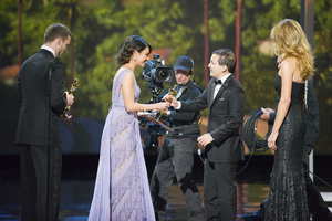 """""""The Academy Awards - 83rd Annual"""" (Telecast) Shaun Tan, Justin Timberlake, Mila Kunis02-27-2011 Photo by Michael Yada © 2011 A.M.P.A.S. - Image 24036_0348"""