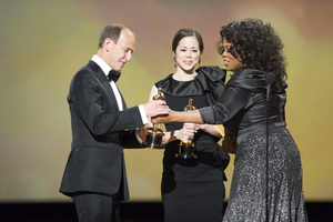 """""""The Academy Awards - 83rd Annual"""" (Telecast) Charles Ferguson, Audrey Marrs, Oprah Winfrey02-27-2011 Photo by Michael Yada © 2011 A.M.P.A.S. - Image 24036_0376"""