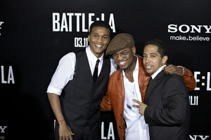 """Battle: Los Angeles"" Premiere  Cory Hardrict, Ne-Yo, Neil Brown Jr. 3-8-2011 / Columbia Pictures / Regency Village Theater / Westwood CA / Photo by Benny Haddad - Image 24037_0123"