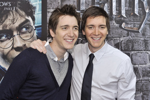 """""""Harry Potter: The Exhibition""""James Phelps, Oliver Phelps4-4-2011 / Discovery Times Square / New York NY / Warner Brothers / Photo by Eric Reichbaum - Image 24044_0019"""