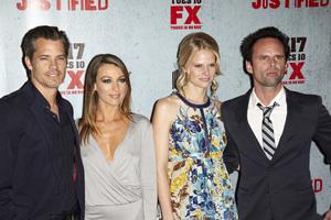 """Justified"" Premiere Natalie Zea, Joelle Carter, Timothy Olyphant, Walton Goggins1-10-2012 / Director"