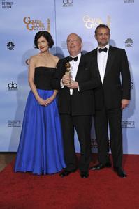 """The Golden Globe Awards - 69th Annual"" (Press Room) Julian Fellowes, Elizabeth McGovern, Hugh Bonneville1-15-2012 © 2012 Jean Cummings - Image 24150_0024"