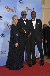 """The Golden Globe Awards - 69th Annual"" (Press Room) Helen Mirren, Morgan Freeman, Sidney Poitier1-15-2012 © 2012 Jean Cummings - Image 24150_0121"