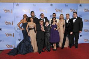 """The Golden Globe Awards - 69th Annual"" (Press Room) Sofia Vergara, Sarah Hyland, Rico Rodriguez, Ed O"