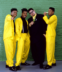"Heavy D & The Boyz (Dwight Arrington Myers, G-Whiz (Glen Parrish), ""Trouble"" T. Roy (Troy Dixon), and Eddie F (born Edward Ferrell)1990© 1990 Bobby Holland - Image 24153_0001"