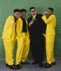 "Heavy D & The Boyz (Dwight Arrington Myers, G-Whiz (Glen Parrish), ""Trouble"" T. Roy (Troy Dixon), and Eddie F (born Edward Ferrell)1990© 1990 Bobby Holland - Image 24153_0002"