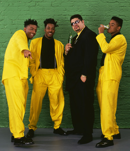 "Heavy D & The Boyz (Dwight Arrington Myers, G-Whiz (Glen Parrish), ""Trouble"" T. Roy (Troy Dixon), and Eddie F (born Edward Ferrell)1990© 1990 Bobby Holland - Image 24153_0003"