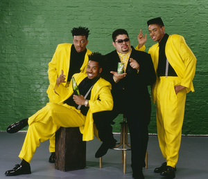 "Heavy D & The Boyz (Dwight Arrington Myers, G-Whiz (Glen Parrish), ""Trouble"" T. Roy (Troy Dixon), and Eddie F (born Edward Ferrell)1990© 1990 Bobby Holland - Image 24153_0004"
