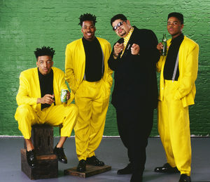"Heavy D & The Boyz (Dwight Arrington Myers, G-Whiz (Glen Parrish), ""Trouble"" T. Roy (Troy Dixon), and Eddie F (born Edward Ferrell)1990© 1990 Bobby Holland - Image 24153_0005"