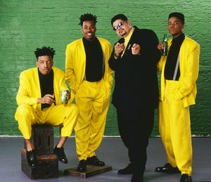 "Heavy D & The Boyz (Dwight Arrington Myers, G-Whiz (Glen Parrish), ""Trouble"" T. Roy (Troy Dixon), and Eddie F (born Edward Ferrell)1990© 1990 Bobby Holland - Image 24153_0005"