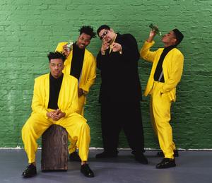 "Heavy D & The Boyz (Dwight Arrington Myers, G-Whiz (Glen Parrish), ""Trouble"" T. Roy (Troy Dixon), and Eddie F (born Edward Ferrell)1990© 1990 Bobby Holland - Image 24153_0006"