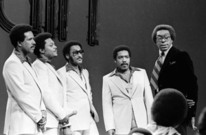 Don Cornelius and the Four Tops appearing on Soul Train circa 1970