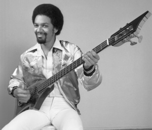 Louis Johnson, of The Brothers Johnson, holding a custom bass designed by Leo Fender1978© 1978 Bobby Holland - Image 24177_0007