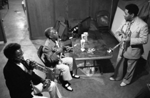 Clark Terry, Roy Eldridge and Dizzy Gillespie backstage at the Monterey Jazz Festival1974© 1978 Paul Slaughter - Image 24262_0082