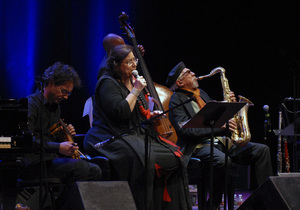 Charles Lloyd performing in Santa Fe with Sokratis Sinopoulos and Maria Farantouri2012© 2012 Paul Slaughter - Image 24262_0217