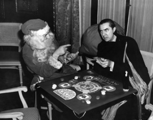 Santa Claus puts the finger on Bela Lugosi of Ed Sullivan