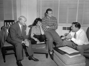 "Samuel Goldwyn, Jean Simmons, Marlon Brando and Joseph L. Mankiewicz behind the scenes of ""Guys and Dolls""1955 MGM** B.D.M. - Image 24293_0147"