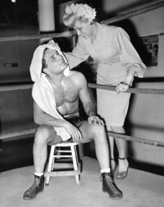 Jake LaMotta and Vicki LaMotta at the Ringside Gym December 4, 1946Photo by Kanter** B.D.M. - Image 24293_0169