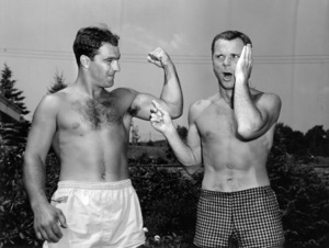 Rocky Marciano and Jackie Cooper at Grossinger, New York training camp 1953** B.D.M. - Image 24293_0184