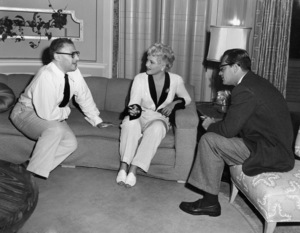 """George Cukor, Judy Holliday and William Holden on the set of """"Born Yesterday""""1950 ColumbiaPhoto by Van Pelt** B.D.M. - Image 24293_0489"""