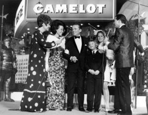 """Polly Bergen, Alan J. Lerner and family with Army Archerd at the Hollywood Premiere of """"Camelot"""" at the Cinerama DomeNovember 1, 1967** B.D.M. - Image 24293_0492"""