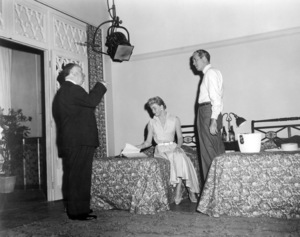 """Alfred Hitchcock, Doris Day and James Stewart on the set of """"The Man Who Knew Too Much""""1956 Paramount** B.D.M. - Image 24293_0540"""