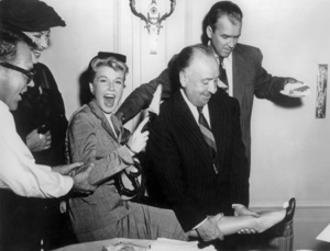 """Doris Day, Alfred Hitchcock and James Stewart on the set of """"The Man Who Knew Too Much""""1956 Paramount** B.D.M. - Image 24293_0542"""