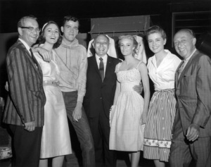 "Henry Levin, Paula Prentiss, Jim Hutton, Joseph R. Vogel, Yvette Mimieux, Dolores Hart and Joe Pasternak on the set of ""Where the Boys Are""1960 MGM** B.D.M. - Image 24293_0577"