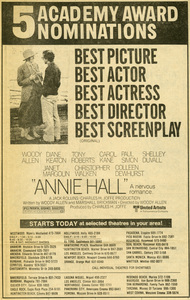"""Diane Keaton and Woody Allen in """"Annie Hall"""" Oscar Nomination ad from the March 29, 1978 edition of the Los Angeles TimesUnited Artists** B.D.M. - Image 24293_0672"""