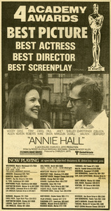 "Diane Keaton and Woody Allen in ""Annie Hall"" Oscar winner ad from the April 12, 1978 edition of the Los Angeles TimesUnited Artists** B.D.M. - Image 24293_0673"