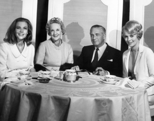 "Honor Blackman, Marina Cisternas (member of the HFPA), Mervyn LeRoy and Jean Seberg at a press conference to promote ""Moment to Moment""1965 Universal** B.D.M. - Image 24293_0870"