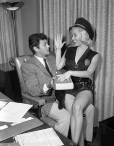 """Tony Curtis and Mamie Van Doren during filming of """"The All American""""1953 Universal** B.D.M. - Image 24293_0892"""