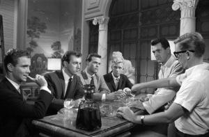 "Joel Grey, Bobby Darin, Rock Hudson and director Robert Mulligan on the set of ""Come September""1961 Universal** B.D.M. - Image 24293_0981"