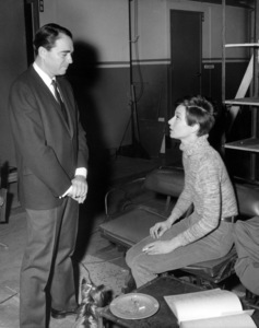 "Army Archerd and Audrey Hepburn on the set of ""Wait Until Dark""1967 Warner Bros.** B.D.M. - Image 24293_1058"