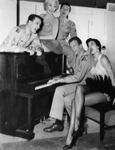 """Gene Kelly, Dolores Gray, Michael Kidd, Dan Dailey and Cyd Charisse on the set of """"It"""
