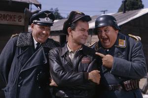 """Werner Klemperer, Bob Crane and John Banner in """"Hogan"""