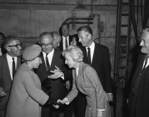 """Barbara Stanwyck, Lew Wasserman and William Castle greet Levi Eshkol, the Prime Minister of Israel and his wife Miriam on the set of """"The Night Walker""""1964 Universal** B.D.M. - Image 24293_1567"""
