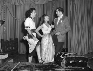 """Richard Conte, Linda Christian and Tyrone Power on the set of """"Slaves of Babylon""""1953 ColumbiaPhoto by Bell** B.D.M. - Image 24293_1595"""