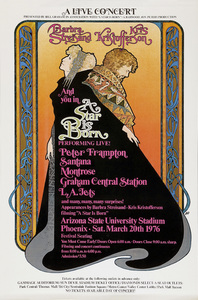 """Barbra Streisand and Kris Kristofferson in a poster advertising the concert at Sun Devil Stadium held for the filming of """"A Star Is Born""""1976 Warner Bros.** B.D.M. - Image 24293_1624"""