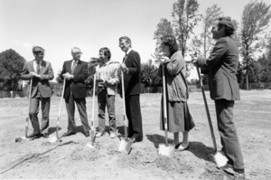 Lew Wasserman, Steven Spielberg, Sid Sheinberg, Kathleen Kennedy and Frank Marshall at the ground breaking ceremony for the Amblin office building on the Universal lot1983** B.D.M. - Image 24293_1943