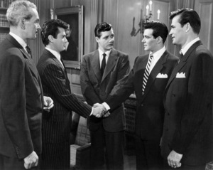 "Donald Randolph, Tony Curtis, Richard Long, Stuart Whitman and Palmer Lee in ""The All American""1953 Universal** B.D.M. - Image 24293_2059"