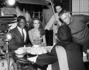"""Sidney Poitier, Katharine Houghton, Katharine Hepburn and director Stanley Kramer on the set of """"Guess Who"""